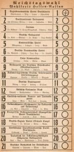 Wahlzettel, Reichstagswahl 1928, Hessen-Nassau
