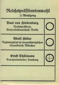 Wahlzettel, Reichspräsidentenwahl 1932, 2. Wahlgang