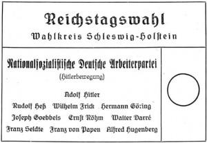 Wahlzettel Reichstagswahl 1933 (November), Schleswig-Holstein