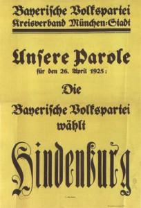 Bayrische Volkspartei, Reichspräsidentenwahl 1925 (2. Wahlgang)