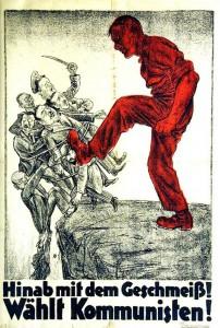 """KPD, Reichstagswahl 1924, """"Hinab mit dem Geschmeiß! Wählt Kommunisten!"""" Zu sehen sind Reichspräsident Friedrich Ebert (SPD), Außenminister Gustav Stresemann (DVP), der Chef des Generalstabes Hans von Seeckt, der Vorsitzende des Alldeutschen Verbandes, Heinrich Claß, sowie der NSDAP-Vorstizende Adolf Hitler."""