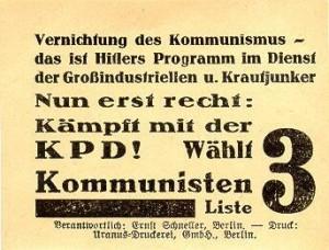 KPD, Reichstagswahl 1933