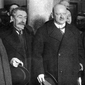 Gustav Stresemann (rechts) mit Aristide Briand
