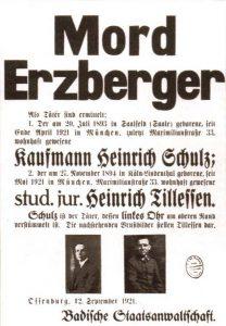 Bekanntmachung der Badischen Staatsanwaltschaft zum Mord an Matthias Erzberger (Zentrum)